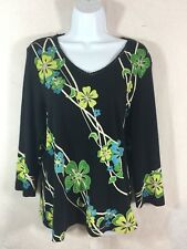 Westbound L Large Blouse Black Floral L/S Knit Shirt Top V Neck  (S14)
