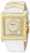 Versace Women's VQF010015 DV25 Gold IP Diamond Square White Leather Watch