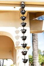 Monarch Rain Chains 18022 Aluminum Lotus Chain 8.5 Ft Gutter Black Powder Coated