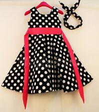 NEW Kid Girl Dot Party Formal Headwear Outfit Dress Black White Pink SZ 5-6 Z1A