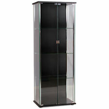 Clear Glass & Chrome Storage Display Cupboard Cabinet Unit with Shelves
