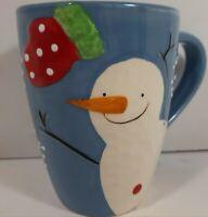Cracker Barrel Coffee Tea Cocoa Mug Cup 'Snowman Magic' Blue Ceramic