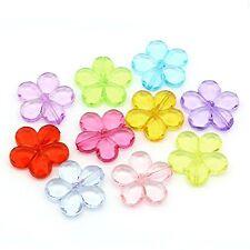 20 Acrylic Focal Flower Beads Randum Mix 32mm Approx 1-1/3 Inch Beads