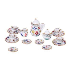 15pcs 1:12 Dollhouse Miniature Porcelain Coffee Tea Serving Dish Cup Pot Set