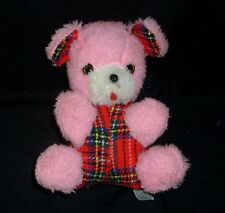 VINTAGE SAKAI & CO JAPAN PINK RED TEDDY BEAR RATTLE CHIME STUFFED ANIMAL PLUSH