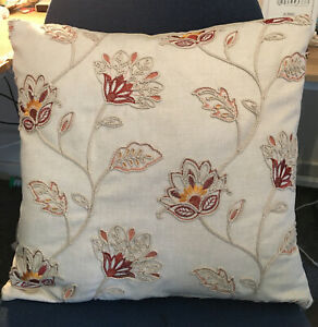 """Beige 17"""" Embroidered Exotic Flower Crewel Effect Fabric Cushion Cover Stunning"""