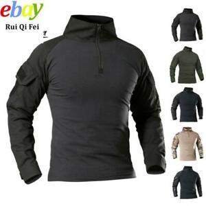 Mens Tactical Combat Long Sleeve T-Shirt Army Military Hiking Casual Shirts Tops
