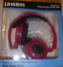 Uniden folding stereo headphones with extra bass for iphone, ipod,mp3 android
