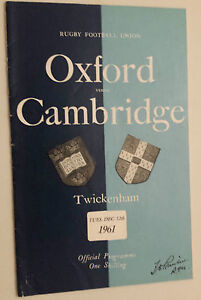 1961 RUGBY UNION PROGRAMME: OXFORD v CAMBRIDGE