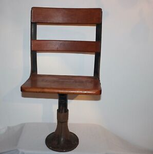 Antique Child's School Desk Chair Metal Wood Garden Plant Stand Farm House