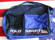 VINTAGE 90s POLO SPORT DUFFLE TRAVEL GYM BAG SPELL OUT USA FLAG NAVY BLUE RED