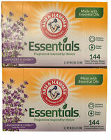 (Pack of 2) Arm & Hammer Essentials Dryer Sheets Lavender & Linen 144 Count