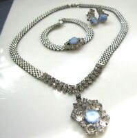 Vintage Silver Mesh Aqua Blue Cabochon Necklace Bracelet Earring Set Rhinestones