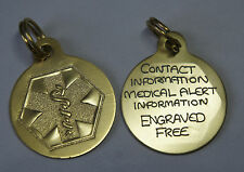 MEDICAL ALERT HAND ENGRAVED TAG - LIGHT WEIGHT KEY TAG / PENDANT POSTED SAME DAY