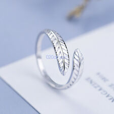 925 Sliver Wrap Around Feather Open Ring Band Angel Wing Leaf Jewelry Solid Gift