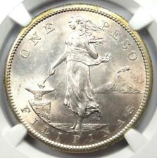 1908-S Philippines Peso 1P - Certified NGC MS62 (BU UNC) - Rare Coin!