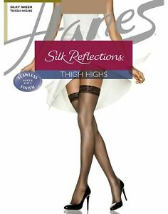 Hanes Stockings Thigh High 3 Pack Reinforced Toe Silk Reflections Sheer