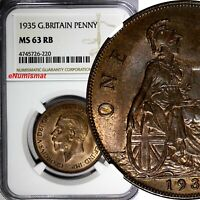 GREAT BRITAIN George V Bronze 1935 1 Penny NGC MS63 RB NICE TONING KM# 838