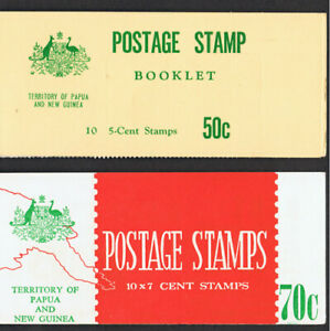 PAPUA NEW GUINEA 1968 - 69 50c & 70c BOOKLETS OF STAMPS