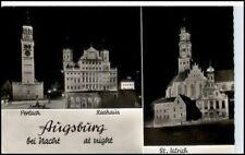 AUGSBURG 1957 Rathaus Perlach St. Ulrich Kirche Nacht alte Postkarte Bayern