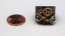 Topaz Black Rhodium .925 Sterling Silver Topaz Ring with Yellow Gold Tone Trim