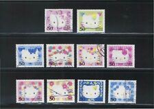 JAPAN 2004 HELLO KITTY GREETING 50 YEN COMP. SET 10 STAMPS FINE USED CONDITION