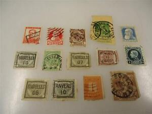 Vintage Official Belgium Postage Stamp Used Collection Lot of 14