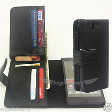 Premium Full Size Pocket Flip Leather Case Cover For Sony Xperia Z