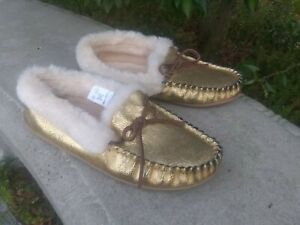 NWOT J Crew Crackled Gold LEATHER Slippers Women's Size 10