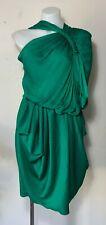 ETHEREAL LANVIN Emerald Green Washed Satin Grecian Draped Goddess Dress US 8