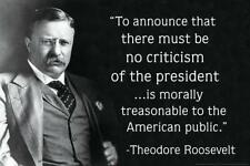 Theodore Roosevelt Criticism of the President Quote Poster 24x36 inch
