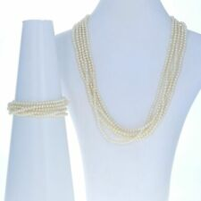 Yellow Gold Cultured Pearl Bracelet & Necklace Set - 14k Five-Strand Toggle
