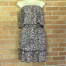d55d393702 PARKER Size XS Pink Animal Print Pleated Strapless Fit Flare Dress Party -G