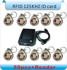 NSEE ZC-02 125KHz RFID Proximity Tag Keyfob Token Reader + 50 Key Tags Access