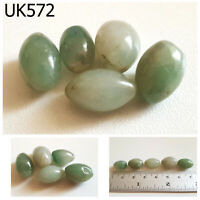 Lot 5 Old Style Mayan Culture Natural Green Jade Bicone Beads #UK572a