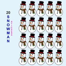 Colour printed snowman christmas stickers presents gifts decoration (not clings)