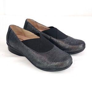 Dansko Womens sz 37 Ann Pewter Metallic Round Toe Slip On Flats Comfort Shoes