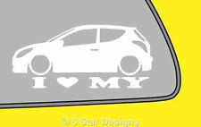2x LOVE LOW Hyundai i20 3-Door outlinesilhouette car bumper sticker LR325