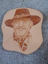 NEW WOOD BURNED LEATHER ART WORK OF STUART ANDERSON ON WOOD BOARD 1981