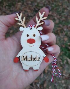 RENNA NATALE legno decorazione pallina albero natalizia personalizzata nome 8cm