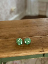 Vintage Miniature Dollhouse Perfect Scale Pair Green Dice France Porcelain OOAK