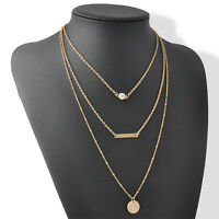 Nice Three Layers Gold Thin Circle Long Bar Necklace Chain Simple Punk