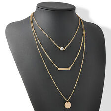 Delicate Three Layer Thin Circle Long Bar Geometry Necklace Chain Simple Jewelry