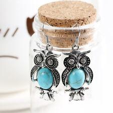 Crystal Tibetan Silver Blue Stone Earring Owl Drop Dangle Earrings