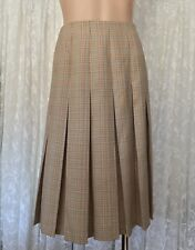 FLETCHER JONES SIZE 10-12 PLEATED CHECK MIDI WOOL BLEND  SKIRT