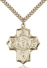 14KT Gold Filled First Communion 5-Way Medal with I Am Catholic Back, 1 1/4 Inch