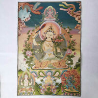 "36"" Tibet Tibetan Cloth Silk Wenshu Manjushri Kwan-yin Tangka Thangka Mural #2"