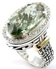 18K & SS  DIAMOND & GREEN AMETHYST PHILIP ANDRE DESIGNER RING