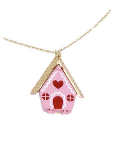 Betsey Johnson Pink Gingerbread House Pendant Necklace 32in