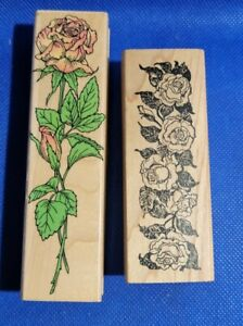 Roses Rubber Stamps Lot of 2